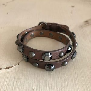 Leather Rhinestone and Stud Wrap Bracelet